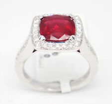Timeless 18k White Gold 2.62tcw Ruby W/ Diamonds Halo Ring Size 5.5
