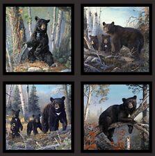 "Elizabeth's Studio Honey Tree Bears Black Cotton fabric by the panel 24"" X 43"""