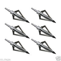 6pcs Silver Broadheads 125 Gr- 3-Blade Hunting arrow Tips Crossbow Compound Bow