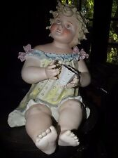 """ANTIQUE GERMAN CONTA BOEHME BISQUE pottery LARGE 12"""" PIANO BABY HOLDING CUP"""