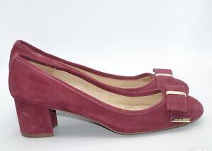 Size 8.5M - Michael Kors Kiera Pumps Chunky Heels Burgendy/Brown Leather Upper