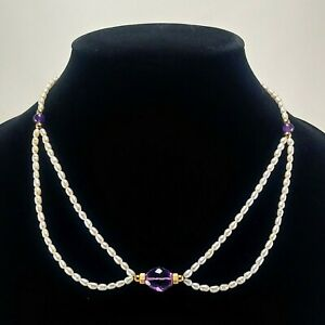 14k Gold Amethyst Bead Purple Glass Two Strand Small Baroque Pearl Necklace 18""