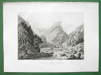 SWITZERLAND Swiss Alps Lake Seealpsee - 1860s Engraving Antique Print
