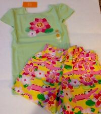 Nwt Gymboree 2pc Outfit Summer Green Pink Flower Top/Floral Shorts 6