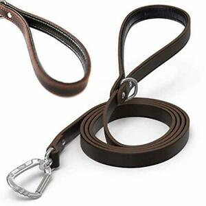 Mighty Paw Leather Dog Leash | 6 Ft Leash. Super Soft Padded Handle Leather Lead
