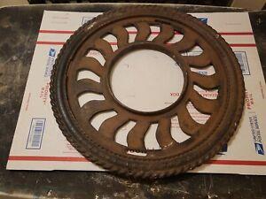 2) Antq Cast Iron Round Floor Grate Register Vent Stove Pipe Ceiling Ring 16 1/4