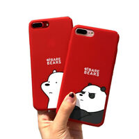 Cute Cartoon Bear Phone Case For iPhone Hard Plastic Red Back Cover HC