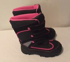 BLACK HALF PIPE WINTER BOOTS, YOUTH SIZE 3, BLACK OUT, PINK IN, NEW WITH TAGS