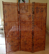 3 Section Panel Bamboo Wood Rattan Privacy Screen Room Divider