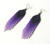 Purple beaded earrings, Ombre seed bead earrings, Long gradient earrings