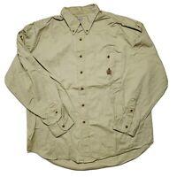Vintage Bugle Boy Company Mens Size 2XL Button Down Shirt Long Sleeve Beige