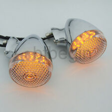 2X Clear Lens Chrome Motorcycle Rear Turn Signal LED Indicator Amber Lights Lamp