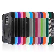 Tough Hybrid Skin Kickstand Case Cover Protector for LG G2 D800 D801 LS980