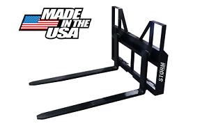 4000 LB STORM SKID STEER TRACTOR PALLET FORKS. ADJUSTABLE (MADE IN THE USA)
