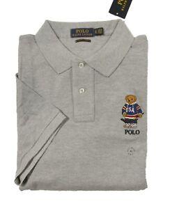 Polo Ralph Lauren Men's Grey Hockey Bear Custom Slim Fit Short Sleeve Polo Shirt