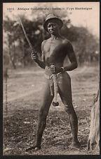 AC1154  ETHNIC BLACK AFRICA SENEGAL MANKAIGNE TRIBE MAN SCARIFICATIONS AND KNIFE