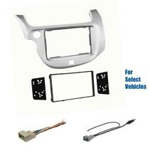 Silver Double Din Car Stereo Radio Dash Kit Combo for some 2009-2013 Honda Fit