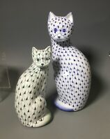 Pair Andrea by Sadek Blue and Green Fishnet Porcelain  White Cats