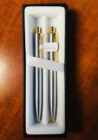 Sheaffer Sentinel Brushed Chrome/Gold Tone Ballpoint Pen/Mechanical Pencil Set