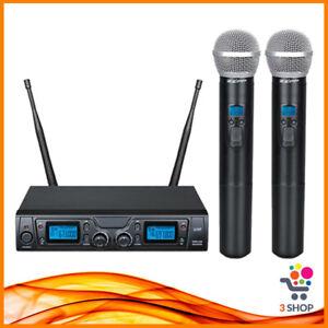 radio microfono UHF radiomicrofono doppio palmare a gelato senza fili dinamico