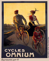 POSTER BICYCLE OMNIUM CYCLES FAMILY BIKE RIDING CYCLING VINTAGE REPRO FREE S/H