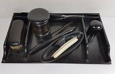 EDWARDIAN EBONY DRESSING TABLE SET - TRAY, BUTTON HOOK, GLOVE STRETCHERS BUFFER