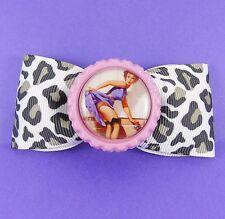 Leopardo Stampa Pin Up Girl capelli fiocco Vintage Kitsch 50 S anni Cinquanta Rockabilly Retrò