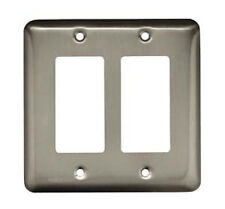 64083 Stamped Brushed Satin Nickel Double Gfci Cover Plate