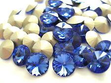 12 Sapphire Foiled Swarovski Crystal Rivoli Stone 1122 39ss 8mm