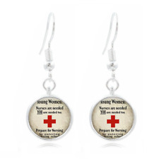 Nursing School glass Frea Earrings Art Photo Tibet silver Earring Jewelry #397