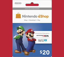 US / USA $20 Nintendo 3DS Wii U Prepaid Points Card eShop - WORLDWIDE SHIPPING!!