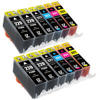 12P PGI-220BK CLI-221C CLI-221M CLI-221Y Ink Cartridges for Canon W/ Ink Level