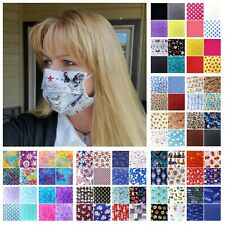 Handmade Adult Cotton Fabric Face Mask with filter pocket & Wire nose piece