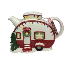 2018 Blue Sky Clayworks Retro Style Camper Trailer Christmas Tea Pot Goldminc