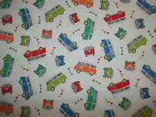 Handmade flannel  crib sheet, / Camper/Bus/ White, Green,Orange,Blue,Red/Neutral