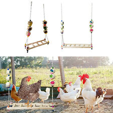 2xChicken Wood Stand Chicken Ladder Swing Stand Toy Large Bird Parrot Hens Macaw