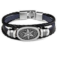 New Fashion Bracelet Men Women's Vintage Leather Belt  Wristband Bangle Black