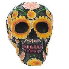 Totenkof mit Gänseblümchen Motiv Totenschädel Schädel Blumen Hippie Gothic 12cm