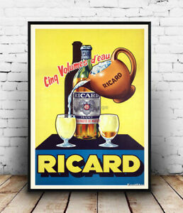 Ricard (01):  Vintage French drink advertising poster  reproduction.
