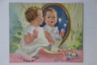 Mabel Rollins Harris art print product label ad Baby mirror made in USA K90 4x5