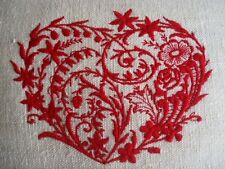 Vintage French Hemp Embroidered Heart Cushion Cover