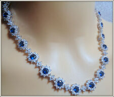 18K HIGH QUALITY LADY'S BLUE SAPPHIRE NECKLACE EARRING SET BRIDAL, COCKTALE P