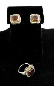 EFFY DIAMOND GARNET EARRINGS AND RING SET