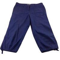 Loft Size 8P Pants Crops Cargo Ann Taylor  Women's Blue  Pockets String Petites