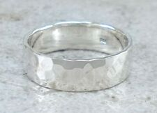 925 STERLING SILVER 6MM HAMMERED BAND RING size 8 style# r2402