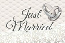 Just Married Car Flags Silver and White with Wedding Ring pack of 2  30cm x 45cm