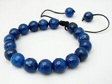 Men's Shamballa gemstone bracelet all 10mm  NATURAL BLUE AGATE  beads lace agat