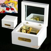 Square White Wood Wind Up Music Box  : Sailor Moon Moonlight Densetsu