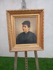 Portrait Ancien de femme huile sur toile époque XIXème Signé:RIVES/1898