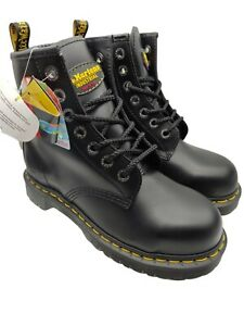 Dr martens airwair womens steel toe safety boots black leather size5uk new